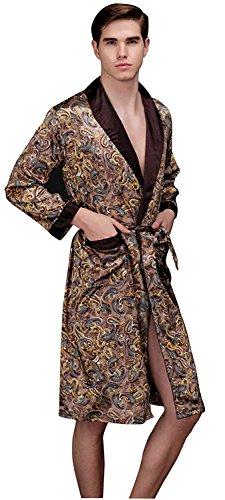 Lavenderi Mens Shawl Collar Premium Satin Robe Sleepwear (M, Taupe)