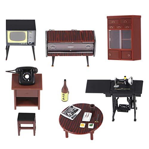 MILISTEN 6 Piezas Conjunto de Adornos de Casa de Muñecas Kit de Modelo de Muebles Retro Vintage Mini Suministros de Casa Figuras Decorativas de Escritorio Regalo para Niños Café de Niños