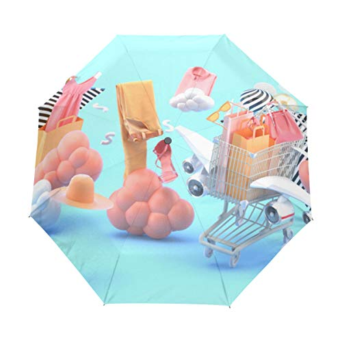 Retro Parasol For Rainy Day Three-dimensional Clothes Mini Polyester With Cover Automatic Open Close For Kids