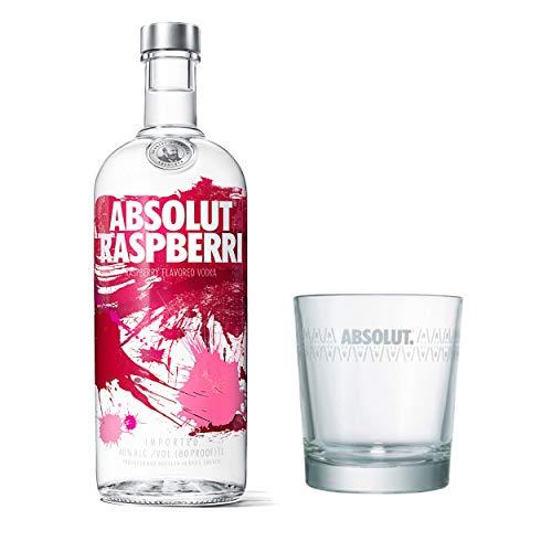 Absolut Vodka Raspberri Set mit Tumbler Glas, Wodka Himbeere, Schnaps, Spirituose, Alkohol, Flasche, 40 %, 1 L