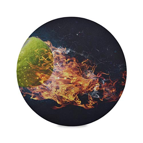 HAOLONGG Set of 4 Round Table Place Mats Set Tennis Ball with Flames in The Air Table Placemats Mens Place Mat 15.4 Inch Easy to Clean for Kitchen Dining Table Holiday Party