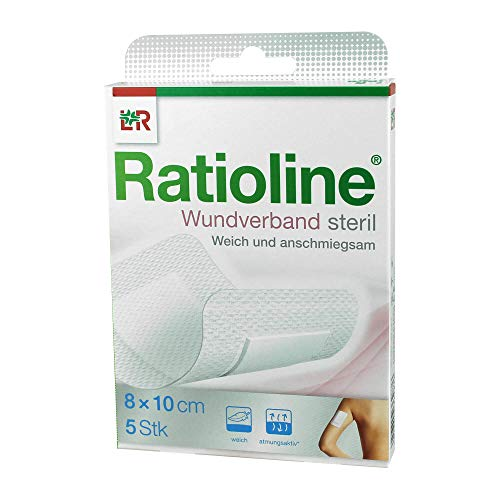 Ratioline Wundverband 10x8 cm steril, 5 St
