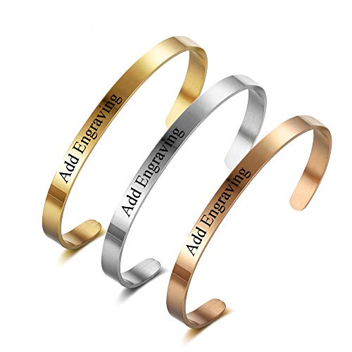 Personalised Mothers Day Bracelet Distance Bracelets for Couples Silver Rose Gold Cuff Bracelets for Woman Sister Engraved Name Bangles Custom Men Womens Jelwelry Gift Stainless Steel 5 mm 2 Pieces