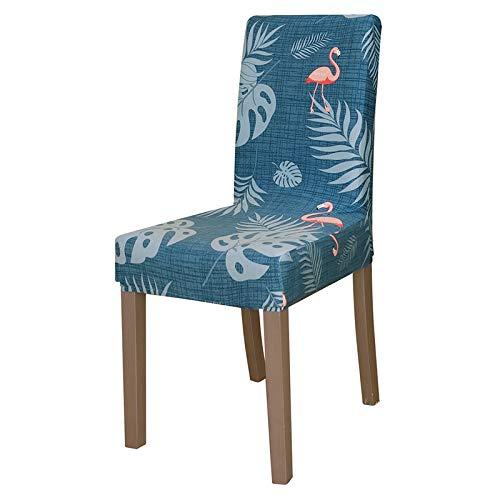 UIRK Esszimmer Stretch Stuhlhussen,Modern Dining Chair Protector Flamingo Blaupause Klassiker Abnehmbare Waschbare Elastische Spandex Stuhlsitzbezüge Für Hotelhochzeitsbankett, 6 Pcs/Packung