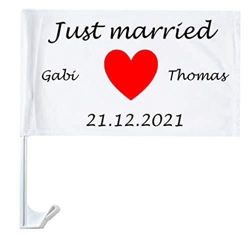 Autofahne Hochzeit mit Namen personalisiert Autoflagge Wunschname Heirat Just Married 2