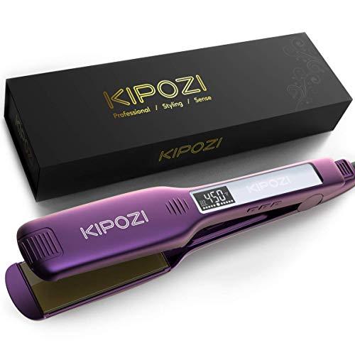 KIPOZI Professional Hair Straightener, 1.75 Inch Titanium Flat Iron for Hair, Dual Voltage Flat Iron with Adjustable Temperature & Digital Display, Purple