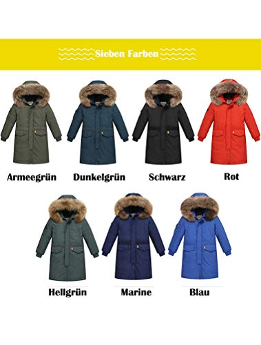 FTCayanz Girls Winter Down Jacket Parka Coats Long Jackets with Fur Hood