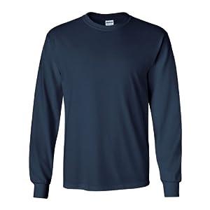Gildan Men's Ultra Cotton Long Sleeve T-Shirt, Style G2400, 2-Pack, Navy, X-Large