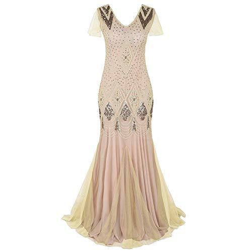 Damen 1920er Jahre Kleid Pailletten Flapper Gatsby Abendkleid Meerjungfrau Lang Maxikleid Vintage Cocktailkleid Hochzeit Festlichkleid Ärmellos V-Ausschnitt Abschlussball Ballkleid Aprikose 2XL