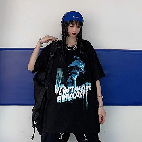 TooFoYo T-Shirt da Donna Hip-Hop Street T-Shirt da Donna Abbigliamento da Donna a Maniche Corte Molla Tide Harajuku Plus Size Shiut Cartoon Stampa Cartone Animato Camicia da Donna Nero L