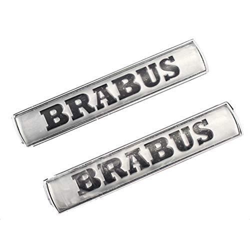 2er Pack BRABUS Auto Dekoratives Logo - Brabus Auto Aufkleber Body Decoration Side Standard, Galvano Logo Für Benz Brabus,Silver