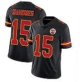 ERPA Maillot de football américain de l'équipe de football américain « Mаfs » numéro 15 #, le maillot de rugby le plus populaire pour les fans - Noir - S
