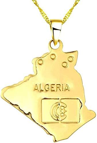 YOUZYHG co.,ltd Collar Hip Hop Argelia Mapa Colgante y Collar Gargantilla de Cadena de Moda de Oro Mujeres Hombres Mapa del Mundo Accesorios de Ropa Collar