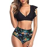 Traje De Baño para Mujer Bikini De Volantes De Cintura Alta De Dos Piezas Trajes De Baño Vintage Lindos,A-Black,M
