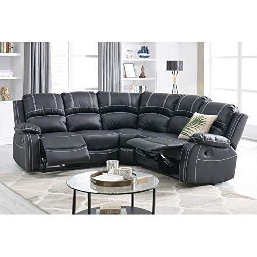 Canapé d'angle 5 places Noir Cuir Confort