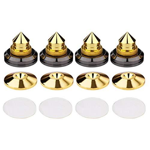 4 stuks Set Golden Speaker Spikes Speaker Stands Subwoofer CD Versterker Draaitafel Isolatie Stand Voeten Kegel Base…