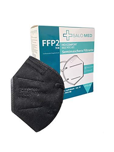 SALO MED 20x Masken FFP2 Schwarz - CE zertifiziert 0598 - Einzeln verpackt - 5-Lagen-Maske - BFE 99% Filterung - Box 20 Stück