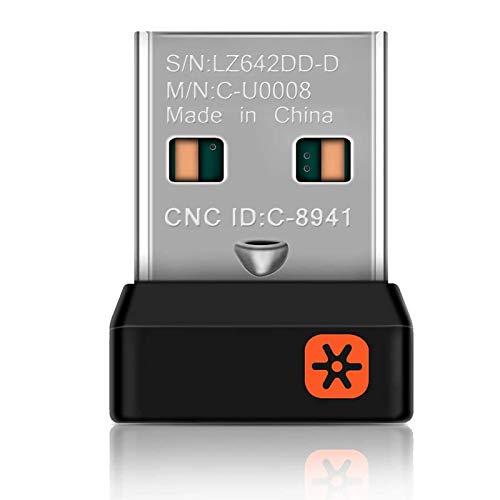 ALLOMN Kabelloser Empfänger Adapter, WLAN Nano Empfänger Dongle für Logitech Unifying Tastatur M215 M235 M325 M545, 6 Kanäle, 6 mm