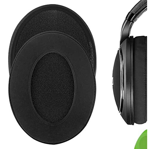 Geekria Comfort Velour Replacement Ear Pads for Sennheiser HD598, HD598SE, HD598CS, HD598SR, HD595 Headphones Earpads, Headset Ear Cushion Repair Parts (Black)