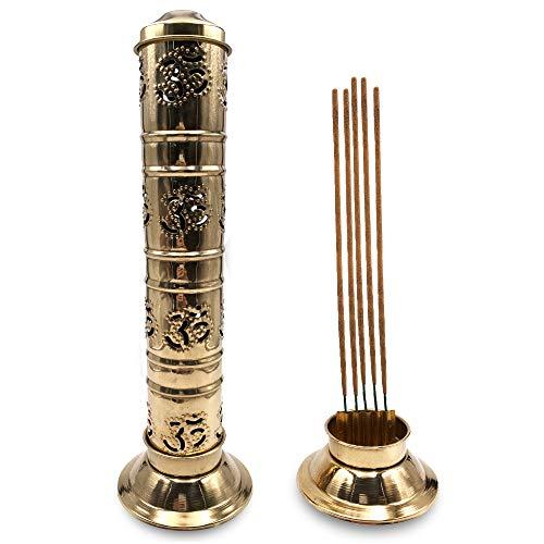 Quemador de Incienso (incensario) símbolo Om rústico en Latón Dorado - 27 cm de Alto, Base 8 cm y...