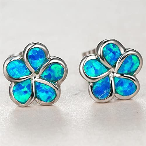 LOKILOKI Pendientes De Piedra De Ópalo Azul para Mujer, Pendientes Pequeños De Color Plateado con Encanto, Pendientes Delicados De Boda con Flores para Novia para Mujer