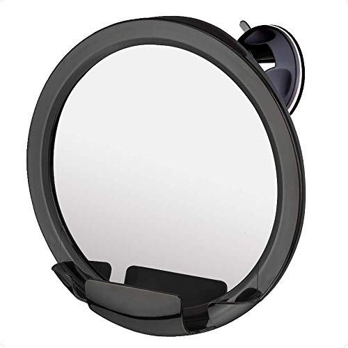 "Mirrorvana Fogless Shower Mirror for Fog Free Shaving with Razor Holder, Sticky Suction-Cup and 360° Swivel, Shatterproof Surface, 8"" Diameter (Black)"