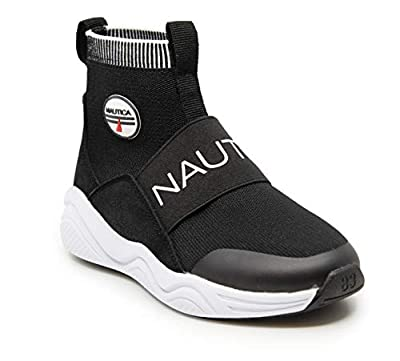 Nautica Kids Boys Silas Youth High-Top Sock Slip-On Sneaker with Extra Ankle Support-Black-2