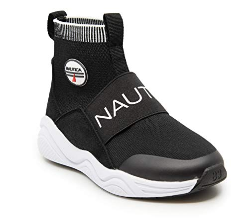 Nautica Kids Boys Silas Youth High-Top Sock Slip-On Sneaker with Extra Ankle Support-Black-13