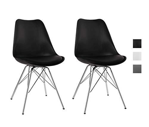 Duhome Esszimmerstuhl Küchenstuhl Kunststoff mit Sitzkissen Stuhl Vintage Design Retro 518J, Farbe:Schwarz, Material:Kunstleder