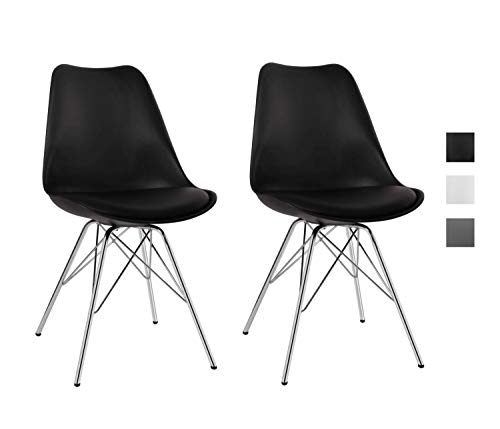 Duhome Esszimmerstuhl 2er Set Küchenstuhl Kunststoff mit Sitzkissen Stuhl Vintage Design Retro Farbauswahl 518J, Farbe:Schwarz, Material:Kunstleder