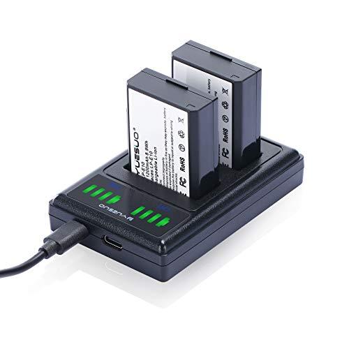 YUESUO - Juego de 2 baterías de repuesto y cargador doble compatible con cámaras de fotos digitales Canon LP-E10 y Canon EOS Rebel T6, Kiss X50, Kiss X70, EOS 1100D 1300D