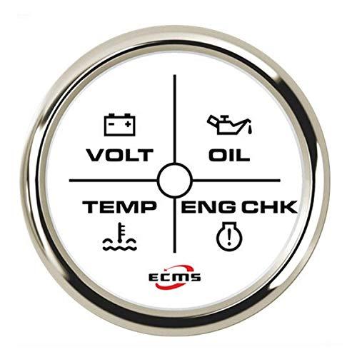 YIONGA Panel de Instrumentos CAIJINJIN 4LED Motor Alarma calibrador del Metro de 2' (52mm) de 12V / 24V de Mutiple de luz de Fondo for el Coche del Carro del Barco Automotor