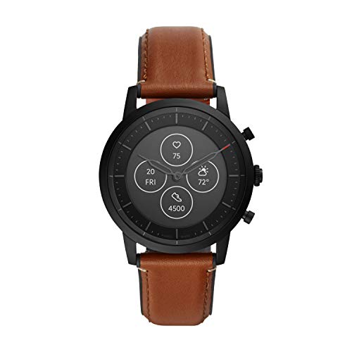 Fossil Men's 42MM Collider HR Heart Rate Stainless Steel and Leather Hybrid HR Smart Watch, Color: Collider - Black/Brown (Model: FTW7007)