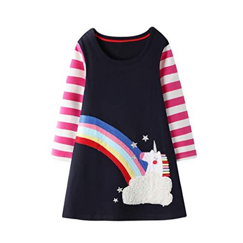 Bebé Niñas Vestidos,Vestido Casual de Manga Larga con Estampado Animal de Dinosaurio para 1-7 años (1-2 Años, Arcoiris Nube)