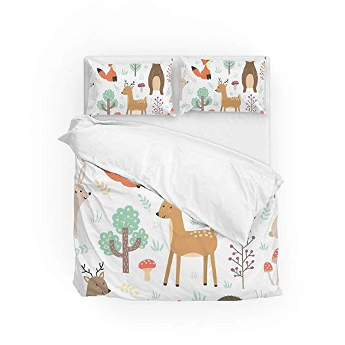 161 Soft Quilt Bedding Set Cute Animals Duvet Cover with 2 Pillowcases Set 3 Pieces 230 x 220 CM, King