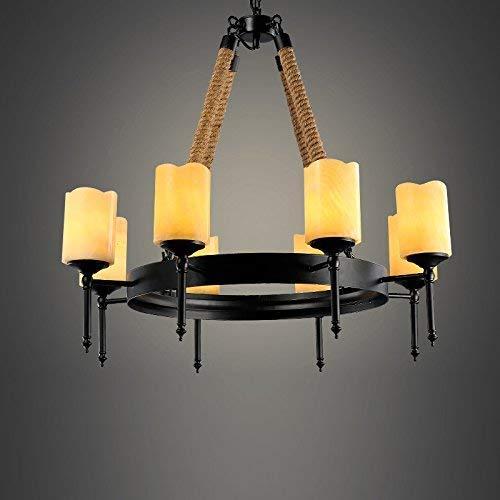 DEJ 8 Lights Touw Metalen Vintage Kroonluchter Hanger Lamp Licht met Glas Cilinderkap E26, E27
