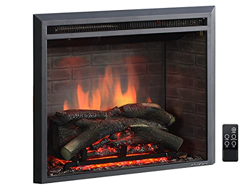 PuraFlame Western Electric Fireplace Insert with Fire Crackling Sound, Remote Control, 750 1500W, Black, 25 63 64 Inches Wide, 23 3 16 Inches High