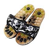 CNNLove Masaje Zapatos Zapatillas De La Medicina China Pedicura Cobblestone Sandalias Digitopuntura Acupuntura del Pie De Las Mujeres De Los Hombres De La Salud Zapatillas De Casa,Negro,35~36