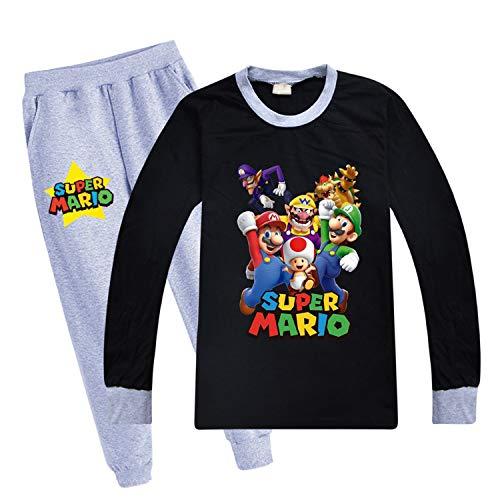 Super Ma-rio Jungen Pyjama-Set, niedliches Kinder-Pyjama, Outfit Shirts und Hose, Kleidungs-Set, Geburtstagsgeschenk Gr. 9 Jahre, Schwarz