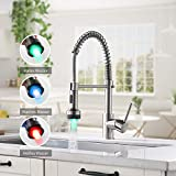 TIMACO - Rubinetto da cucina a LED con molla a spirale, girevole a 360°, con 2 beccucci, rubinetto da cucina e doccia, estensibile, ad alta pressione, in nichel spazzolato