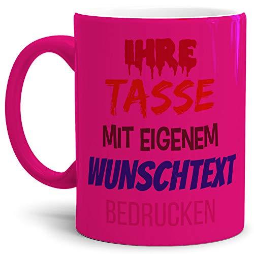 Tasse selbst gestalten/mit eigenem Text beschriften/Wunsch-Name/Spruch-Tasse/Neon Pink/Links & Rechts vom Henkel Bedruckt