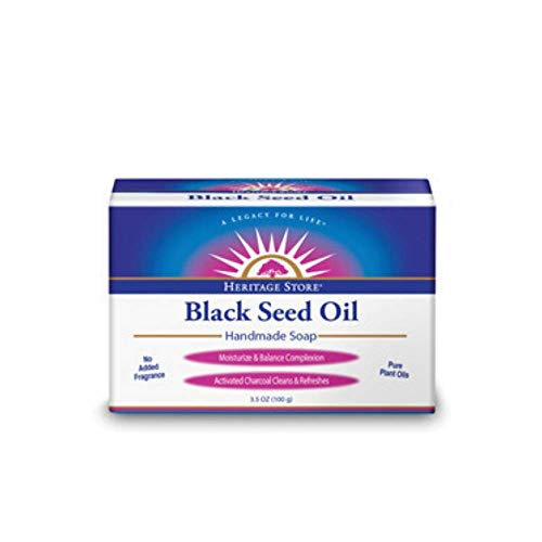 HERITAGE STORE Black Seed Oil Soap Organic, Bar, Unscented (Carton) | 3.5oz