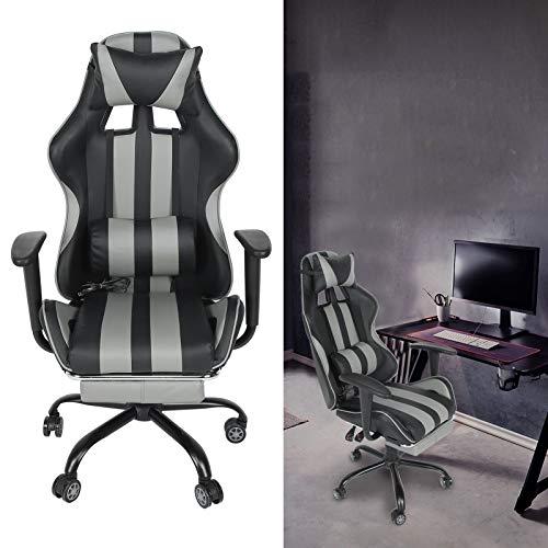 Gaming Chair, Ergonomischer Schreibtischstuhl Bürostuhl Ergonomisch mit Fußstütze Hohe Rückenlehne Schreibtischstuhl PC Gamer Racing Stuhl (grey)