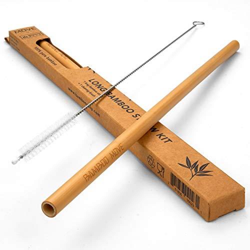 Confezione da 3 pezzi di cannuccia in bambù lunga – Move Line by Bamboo Step: 3 x 25 cm cannuccia e un pennello per la pulizia in una scatola di carta kraft (dimensione del diametro del frullato)