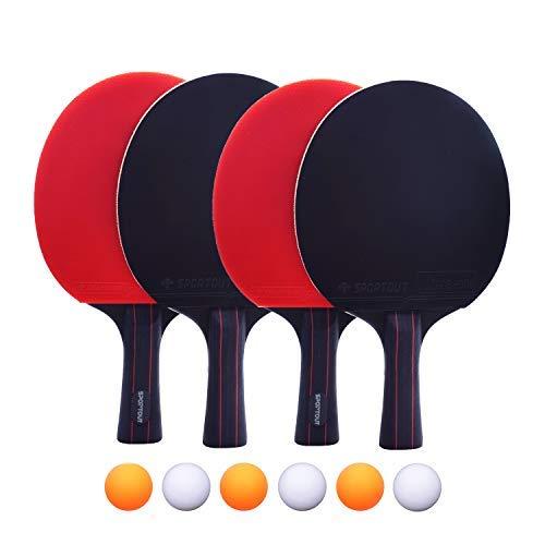 Easy-Room Sportout 4 Tischtennis-Schläger und 6 Tischtennis-Bälle, Premium Tischtennis-Set, 4 Tischtennisschläger, Ideal für 4 Spieler