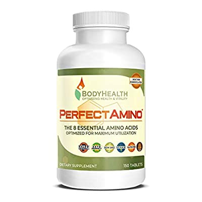 BodyHealth PerfectAmino Tablets, All 8 Essential Amino Acids with BCAAs + Lysine, Phenylalanine, Threonine, Methionine, Tryptophan, Supplement for Muscle Mass Production, Recovery & Strength