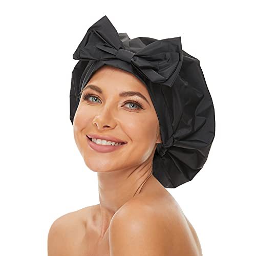 Aibilye Womens Black Shower Cap for Long Hair Extra Large Washable Reusable Waterproof Bathing Hair Cap Adjustable Elastic Band for All Hair Lengths