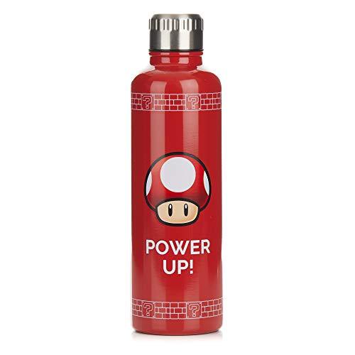 """Super Mario Bros Botella de agua metálica """"Power up""""- Diseño de tapa a prueba de derrames y fugas - 500 ml"""