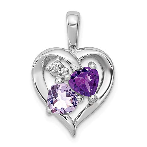 925 Sterling Silver Purple Amethyst Pink Quartz Diamond Pendant Charm Necklace Gemstone Fine Jewelry For Women Gifts For Her