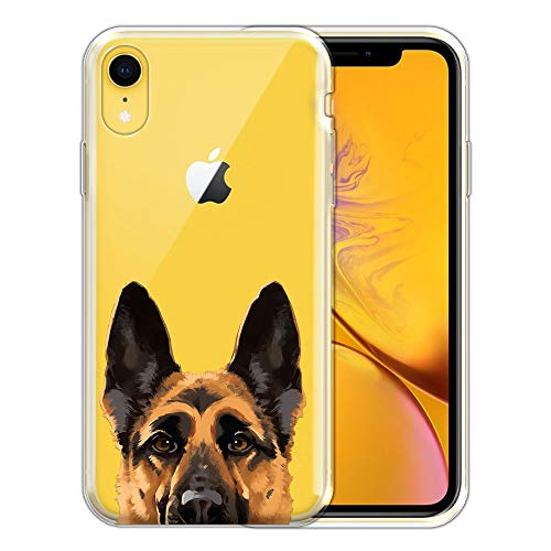 FINCIBO Case Compatible with Apple iPhone XR 6.1 inch, Clear Transparent TPU Silicone Protector Case Cover Soft Gel Skin for iPhone XR - Black Tan German Shepherd Dog